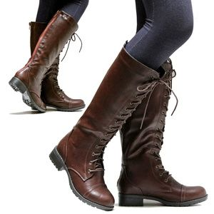 New Red Zipper Lace Up Combat Knee High Boots